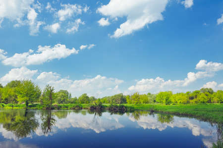 narew: Landscape with flood waters of Narew river in Poland  Stock Photo