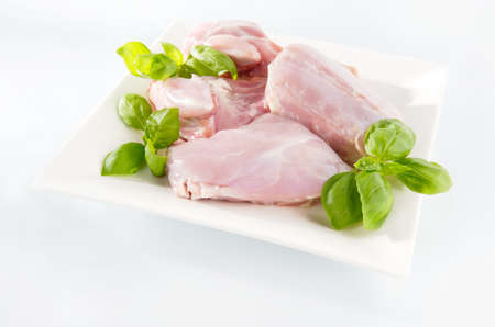 Raw rabbit meat on a plate  Arrangement with mint leaves