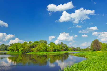 Landscape with flood waters of Narew river in Poland   photo