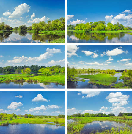 Various midday landscapes with flood waters of Narew river, Poland  photo