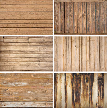 Various types of old wooden backgrouds Banco de Imagens