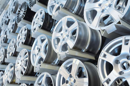 rims: Various alloy wheels Stock Photo