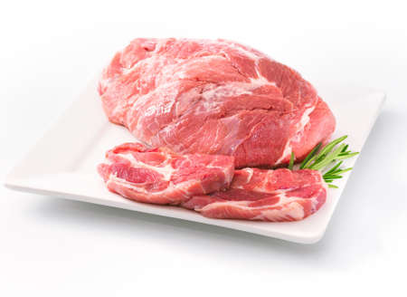 bovine: Raw Shoulder Square Cut on white plate