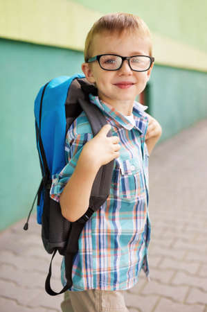 going places: Time for school - Happy boy  Stock Photo