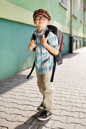 going places: Time for school - Dreamy kid Stock Photo