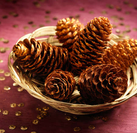 Arrangement wit chrismas pines in the basket Stock Photo - 16591229