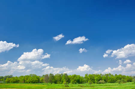 Summer landscape with clouds on the blue sky Stock Photo