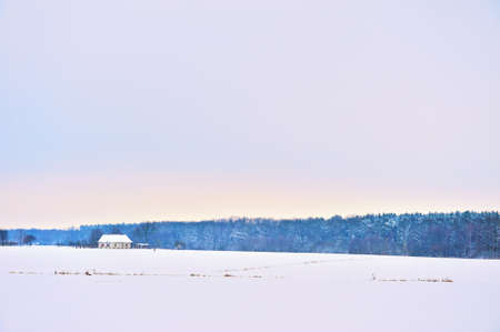 Winter landscape with house and forest Stock Photo - 17101735
