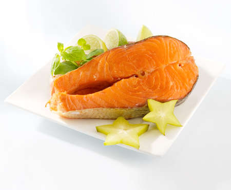 omega 3: Salmon steak on a plate Stock Photo
