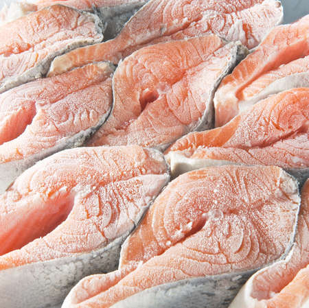 Frozen salmon steaks Stock Photo
