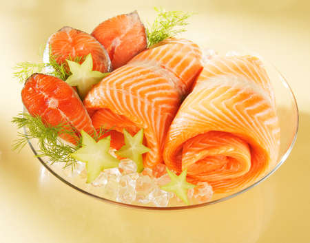 Norwegian salmon on a plate photo