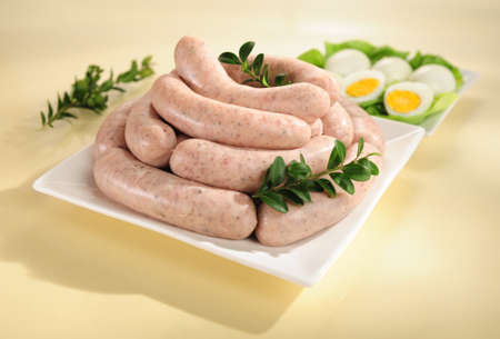 White sausage on a plate Stock Photo