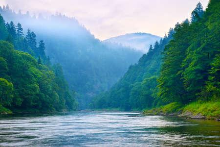 아침에 산 강 계곡 Dunajec, Pieniny