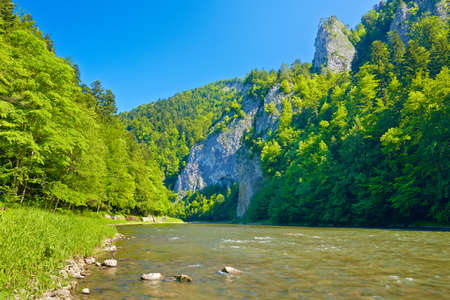 Beautiful sunny landscape with Dunajec River Gorge