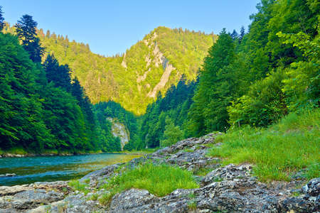 Rocks in the beautiful morning in The Dunajec River Gorge