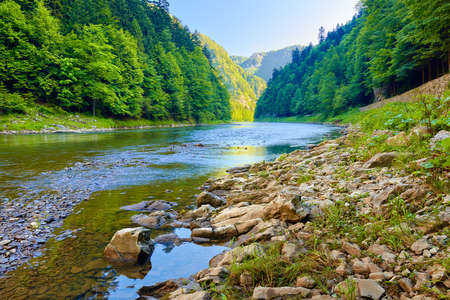 Stones and rocks in the beautiful morning in The Dunajec River Gorge photo