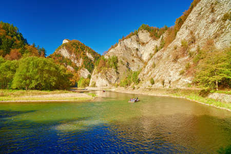 The Dunajec River Gorge  Tourists on raft  Mountain landscape