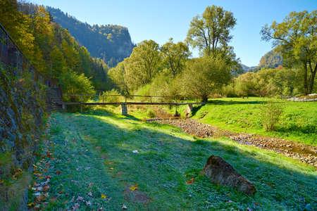 Mountain landscape with litlle bridge in The Dunajec River Gorge  Poland  Banco de Imagens