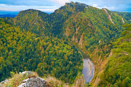 defile: The Dunajec River Gorge  The Three Crowns view from Sokolica mountain