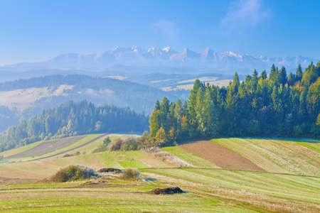 View from Spisz to The Tatra Mountains  Morning landscape  Poland