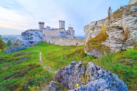 Old medieval castle on rocks  Ogrodzieniec in Poland