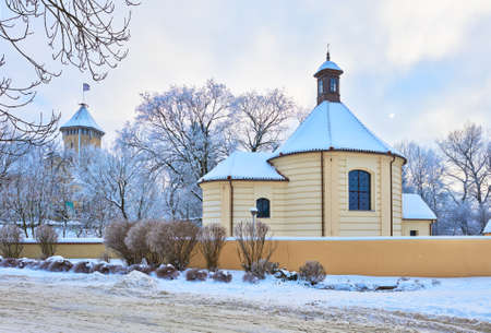 Old church and castle  Winter landscape