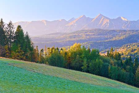 Dawn over The High Tatras  The Carpathian Mountains  View From Spis Magura, Podhale  Poland Banco de Imagens - 23397239