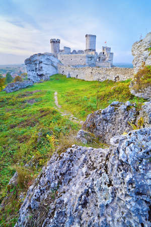 Ruins of the old medieval Ogrodzieniec Castle in Poland. Krakow-Czestochowa Upland, Trail of the Eagles Nests at Polish Jurassic Highland.