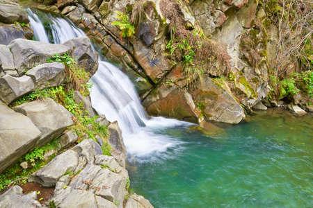 The Zaskalnik Waterfall in the Pieniny mountains range. Amazing nature reserve. Banco de Imagens