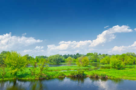 Spring landscape by The Narew braided river  Masovia, Poland  photo