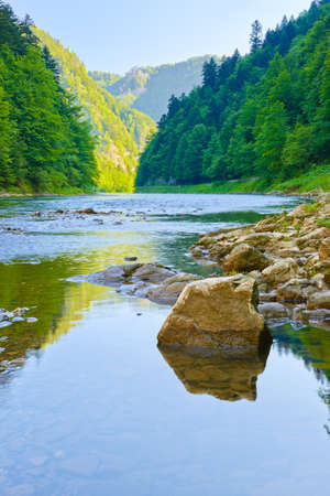 Stone in The Dunajec River Gorge  National border between Poland and Slovakia  The Pieniny Mountains Range nature reserve