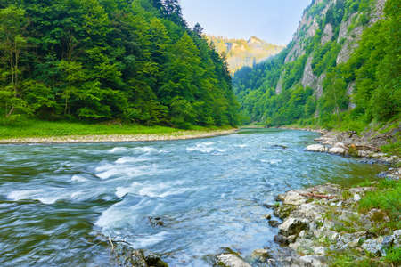 The Dunajec River Gorge  National border between Poland and Slovakia  The Pieniny Mountains Range nature reserve