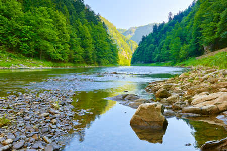 defile: Stone in The Dunajec River Gorge  National border between Poland and Slovakia  The Pieniny Mountains Range nature reserve