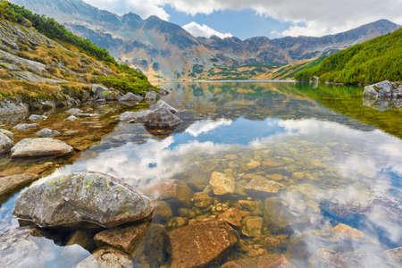 High mountains in Europe. Five Lakes Valley. Carpathians, The Tatra Mountains. Nature reserve. Stock Photo