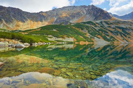 High mountains in Europe. Five Lakes Valley. Carpathians, The Tatra Mountains, The Miedziane Peak - 2233 m. Banco de Imagens