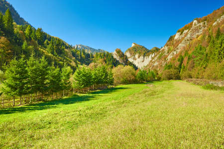 The Pieniny Mountains sunny landscape  View From Slovakia to The Sokolica peak in Poland  Carpathians