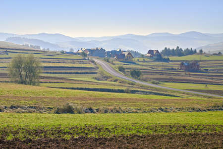 Rural landscape with village in The Pieniny Mountains, Poland  Carpathians countryside