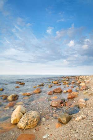 Landscape with coastal stones in the ocean  The Baltic coast, mediterranean sea, Poland