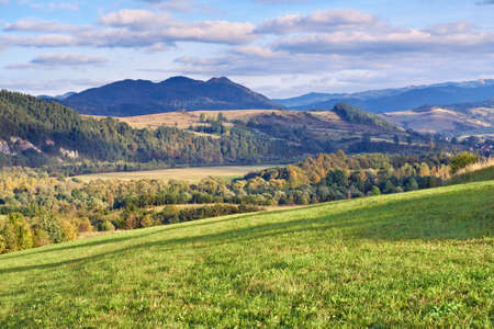 The Pieniny Mountains landscape, Carpathians  Daylight scenery with trees, meadows and moutains