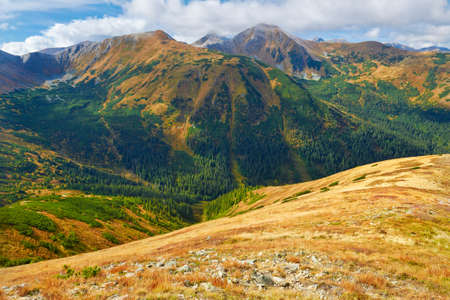 View from Trzydniowianski Wierch. The West Tatras idyllic landscape. Tatra National Park, Poland. Carpathian Mountains.