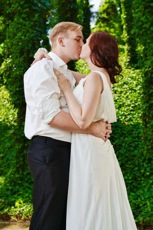 Wedding day love kiss  Banco de Imagens