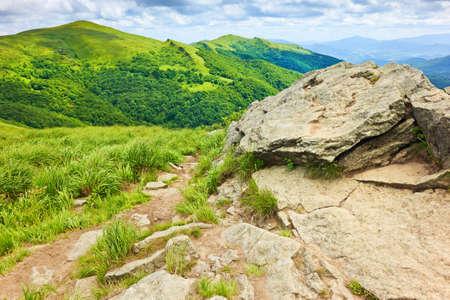 Mountains scenery. Way by rocks and stones in Bieszczady National Park, Poland. Carpathians landscape. Banco de Imagens - 38190629