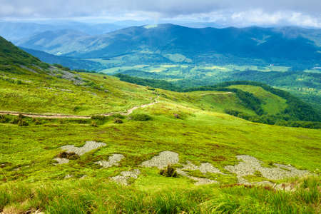 Mountains panorama green meadow mountainside landscape Bieszczady Poland