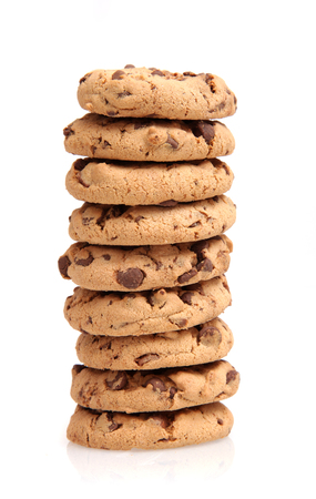 chocolate cookies: Chocolate chip cookie stack