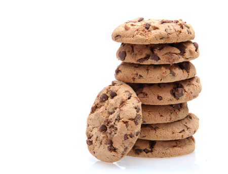 medium group of objects: Chocolate chip cookie stack