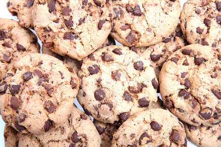 medium group of objects: Chocolate chip cookies background