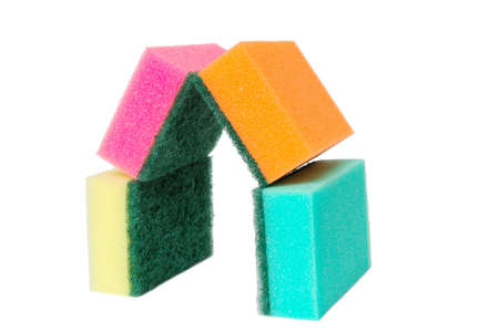 house from multicolor sponges. isolated over white photo