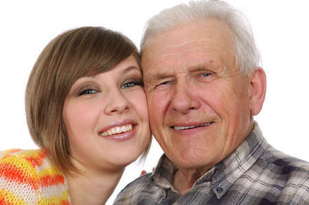grandad: happy grandad and granddaughter Stock Photo