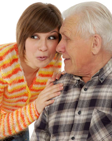 grandad: grandad and granddaughter gossiping about life. isolated over white