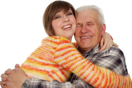 grandad: happy grandchild hugs a happy grandad. isolated on white